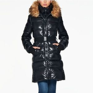 S13 New York Chalet Faux Fur Trim Hooded Down coat